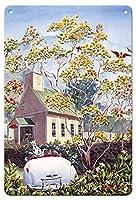22cm x 30cmヴィンテージハワイアンティンサイン - ゴールデンレフアの木 - ハワイ人 Ohia 黄色の花 - オリジナルハワイ水彩画から によって作成された ペギー チュン