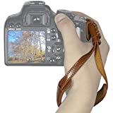 WASSTEELカメラハンドストラップ本革レザーストラップ、すべてのカメラ(SLR / DSLR)用の強化されたハンドグリップの安定性とセキュリティ - ワンサイズはすべて(ブラウン)