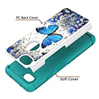 Cute case for Google Pixel 3a XL Painted Rhinestone PC case TPU anti-fall two-in-one mobile phone case(Blue Butterfly)