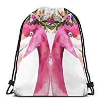 フラミンゴアート夏の花大人のための3Dプリント巾着バックパックリュックサックショルダーバッグジムバッグ16.9 x 14インチ