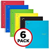 """Five Star Spiral Notebooks, 1 Subject, Graph Ruled Paper, 100 Sheets, 11"""" x 8-1/2"""", Assorted Colors, 6 Pack (73549)"""