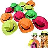 12パックネオン明るいFedora帽子写真ブースパーティーFavors小道具大人用Childre