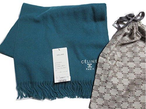 CELINE ( セリーヌ ) ひざ掛け ストール 巾着付き グリーン ロゴ マカダム 刺繍 日本製