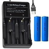 2本 3000mAh 18650 3.7V 充電式リチウムイオン電池 USB電池高速充電器 戦術懐中電灯 電池