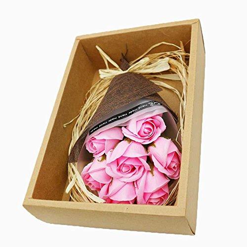 RAINBOW STAR 薔薇 花束 ソープフラワー セット 御祝い 贈り物 ギフトプレゼント 枯れない インテリア (ピンク)