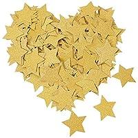 PH PandaHall 約300枚/セット 3x3cm クラフトペーパー 飾り物 飾りつけ 五つ星 紙ガーランド バルーンペーパー 紙吹雪 ペーパーシャワー ウェディング 結婚式 イベント パーティー クリスマス ゴールド