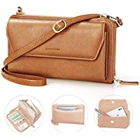 nuoku Wallet Purse Crossbody Wristlet for Women Clutch with RFID Zip Around Cell phone Pocket 2 Strap