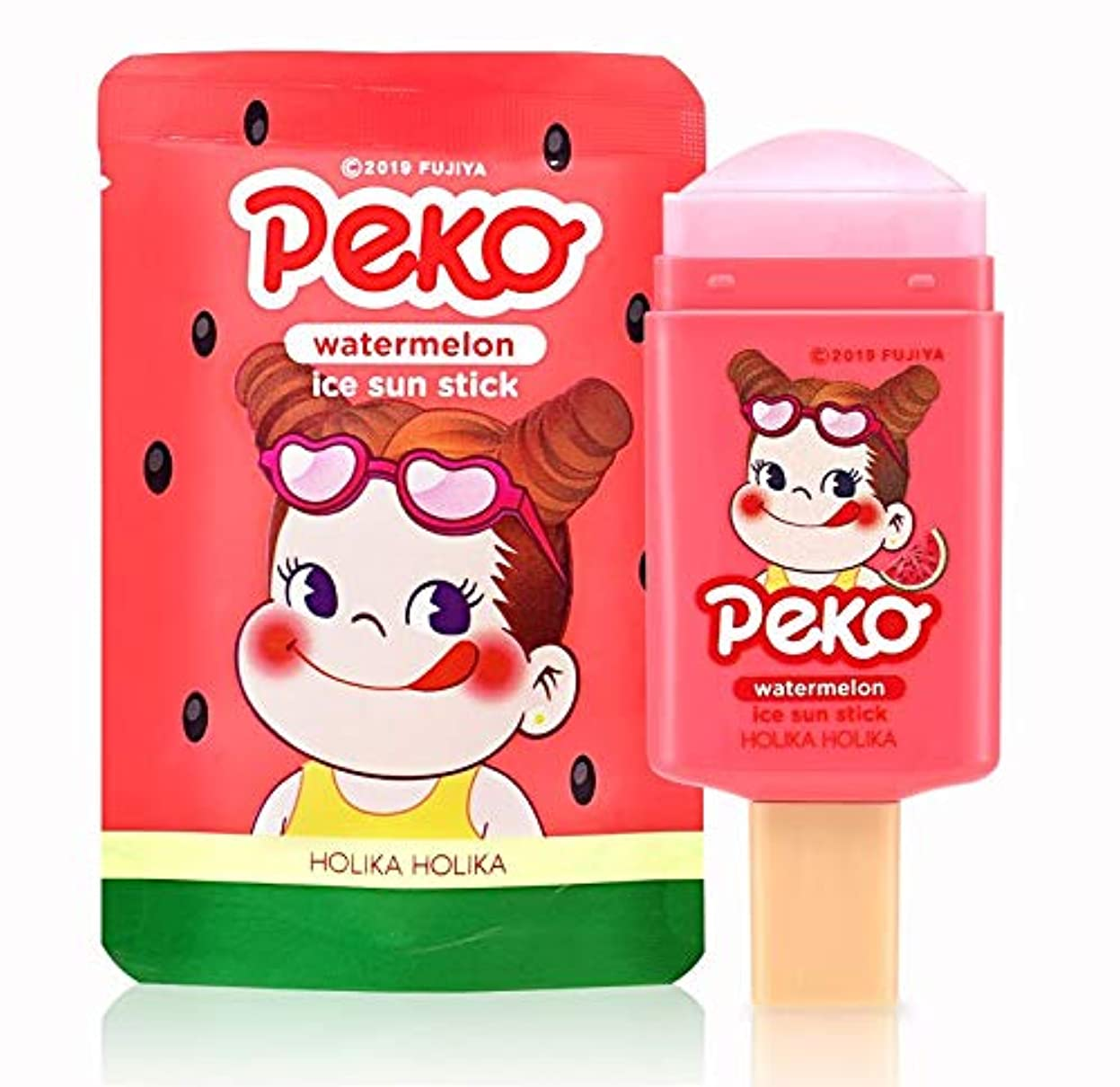 ペーストハリケーンチロホリカホリカ [スイートペコエディション] スイカ アイス サン スティック 14g / Holika Holika [Sweet Peko Edition] Watermellon Ice Sun Stick SPF50...