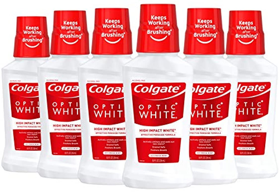 におい残り物懇願するColgate オプティックホワイトホワイトニングマウスウォッシュ、アイシーミント、8液量オンス(6パック)