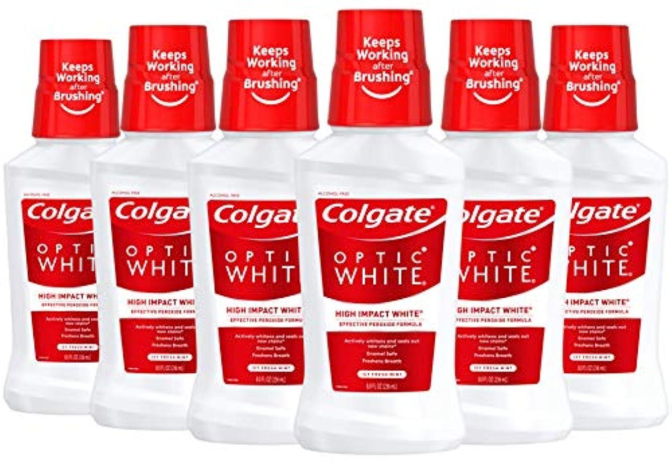 酔う酔う割り込みColgate オプティックホワイトホワイトニングマウスウォッシュ、アイシーミント、8液量オンス(6パック)