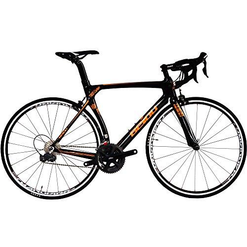 BEIOU 700C ロードシマノ105 自転車 580011Sレーシング 自転車 T800-M40カーボンファイバーエアロフレーム 超軽量 18.3lbs CB013A-2 (光沢のあるブラック&オレンジ, 560mm) [並行輸入品]