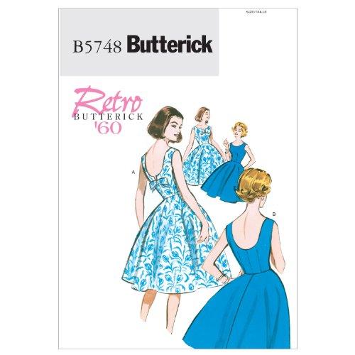 【Butterick】レトロ60年代デザインワンピースの型紙セット サイズ:U6-8-10-12-14 *5748