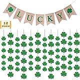 聖パトリックの祝日パーティー装飾 12弦の壁掛けシャムロックとアイリッシュグリーンクローバー ラッキーバナー 聖パトリックの祝日 シャムロックパーティー 吊り下げ装飾オーナメントセット
