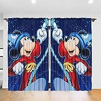 マジシャンミッキーマウス カーテン 高級感 一級遮光 断熱 防寒 取付簡単 幅132cm×丈183cm×2枚組