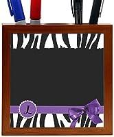 Rikki Knight Letter L Purple Zebra Bow Monogram Design 5-Inch Tile Wooden Tile Pen Holder (RK-PH41659) [並行輸入品]