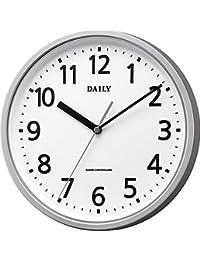 リズム時計 掛け時計 電波 アナログ 小さい デイリーMY34 見やすい ユニバーサル 文字採用 凸文字板 オフィス タイプ 銀色 DAILY (デイリー) 4MYA34DN19