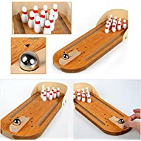 Mini Wooden Bowlingボール、AOLVO卓上ボーリングゲーム木製Mini Bowling Game Set with Lane子供大人ボーリングファン、木製指ボーリングマシンOffice Stress Relief Playセット