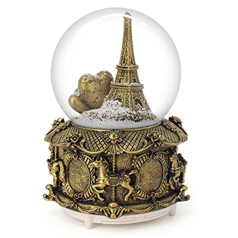 qtmy Musical Snow Globesオーナメントエッフェル塔音楽ボックスwith LEDライトクリスタルボールクリスマスギフト女の子用