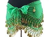ベリーダンス衣装 BC3940 レッスン用シフォンヒップスカーフ 金コイン ピンク
