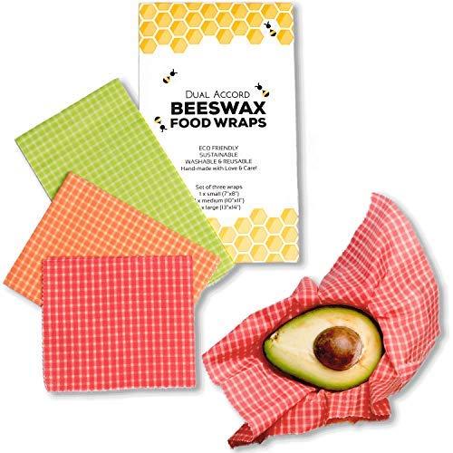 オーガニック蜜ろう食品ラップ - 無駄のない再利用可能な食品包装ラップ|プラスチック包装材の代わりになる、環境にやさしい、繰り返し使える、生分解性、食品保存3パック マルチカラー チェック柄ラップ(グリーン、オレンジ、レッド)