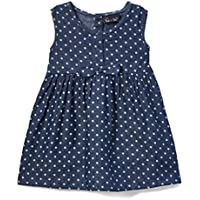 Sweet & Soft Baby Girl's Dark Blue Chambray Polka Dot A-Line Dress
