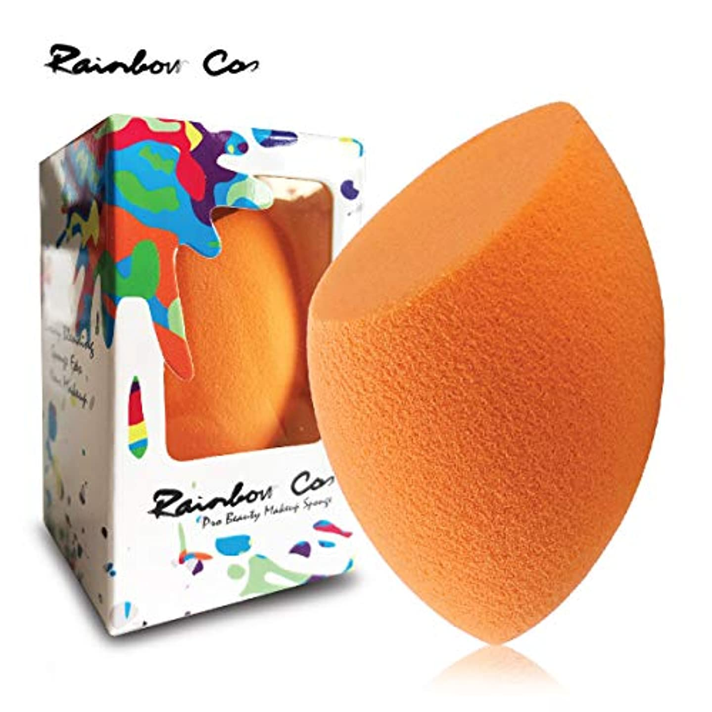拍車もっと少なく紫のRainbow Cos Premium Flat Edge Olive Sponge Beauty Foundation Sponge Blender for Applicator, Foundation and Highlight...
