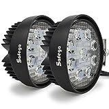 Safego 27W LED 作業灯 / ワークライト 丸形 広角タイプ 9連LED 車外灯 農業機械 ホワイト 6000K 12V-24V対応 27WR-FL-2