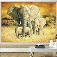 Wuyyii カスタム写真壁紙美しい油絵象家族保育園装飾壁背景壁画壁紙-350X250Cm