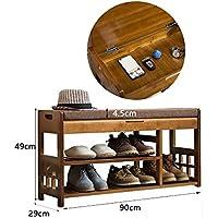 YANFEI 靴ラックシンプルな家庭用ストレージ小さな靴キャビネットホールキャビネット竹シンプルなモダンな防塵靴ベンチ (サイズ さいず : 90 * 49 * 29CM)