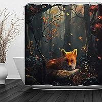 フォックスゴールデンフォックス秋の森の白樺の木で狩猟素朴な荒野動物浴室の窓の装飾のための生地のホックが付いているポリエステル防水シャワー・カーテン60X72in