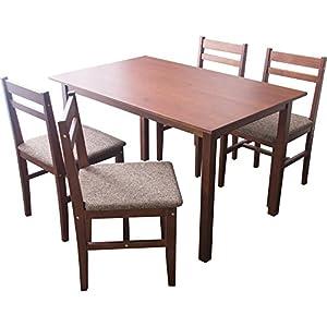 アイリスプラザ ダイニングテーブルセット5点セット ニコル NCL120TBL5SWN ウォールナット×ブラウン テーブル:幅約120×奥行約75×高さ約70、チェア:幅約42×奥行約47×高さ約80cm (座面高)43㎝ 7126725