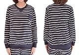 ミウォルナ(Miwoluna) マタニティ 授乳服 パジャマ 家着 ネイビー ボーダー 着心地良くて動きが楽々 XL