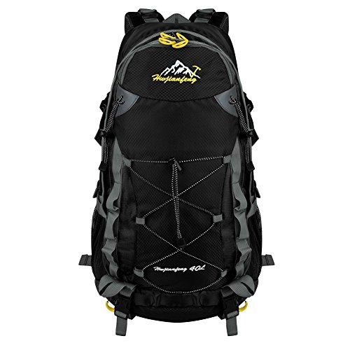 VBIGER 登山 リュック アウトドア ザック 40L/55L アルパインパック 旅行 ハイキング トレッキング 防水 大容量(ブラック,40L)