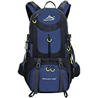 Hiking Backpack Nylon Waterproof Large Capacity Daypack for Outdoor Sports Travel Fishing Cycling Skiing Climbing Camping Mountaineering (Dark Blue-50L)