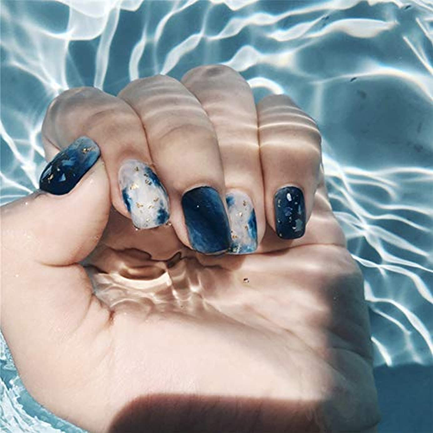 ポルトガル語寝てる施設XUTXZKA 女性のための24個のファッション偽爪ネイルアート大理石ブルースポット人工爪のヒント偽爪
