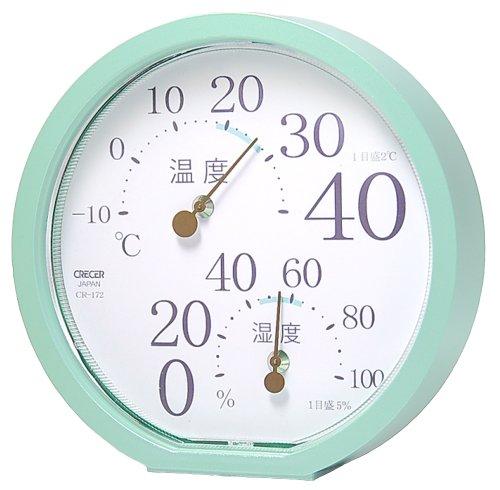 クレセル 温湿度計 エメラルドグリーン CR172P