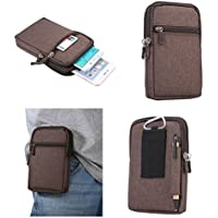 DFV mobile - Universal Multi-functional Vertical Stripes Pouch Bag Case Zipper Closing Carabiner for => Motorola A1200 > Brown (17 x 10.5 cm)