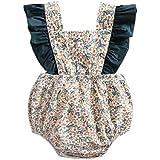 ange select ベビー キッズ ロンパース 花柄 フリル コットン ベビー服 子供服 (グリーン80)