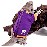 WATFOON Lizard Clothes Bearded Dragon Winter Jacket Warm Coat Hoodies Soft Touching for Leopard Reptile Gecko Anole Amphibians Apparel Cold Weather (M, Purple/Yellow)