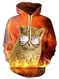 NEWISTAR メンズパーカー 猫柄 長袖 ビッグ パーカー ストレッチ ヒップホップ  快適 個性的 おしゃれ お揃い 贈り物 魅力 ふわふわ おしゃれ