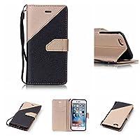 iPhone 6ケース 6sカバー 手帳型カバー PUレザー ストラップ付き カードポケット スタンド機能 マグネット式 ブラック+ゴールド