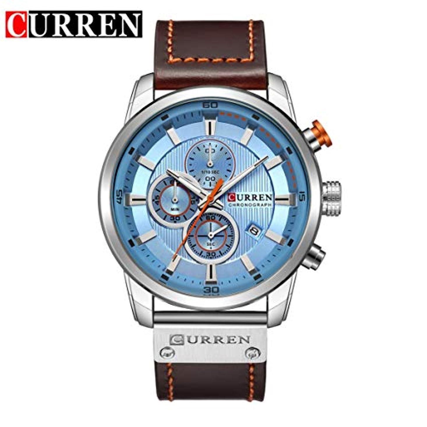 ディベート豪華なアクチュエータKongqiabonaカレン8291高級男性レザーバンドストラップ腕時計ハイクラス男性男性機械的なレロジオmasculino時計ギフト