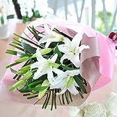 大輪系 白百合の花束 お盆 ユリ 花数80輪以上