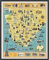 ポスター トニー ミリオネア A History of Lower Manhattan 額装品 ウッドベーシックフレーム(ブラック)