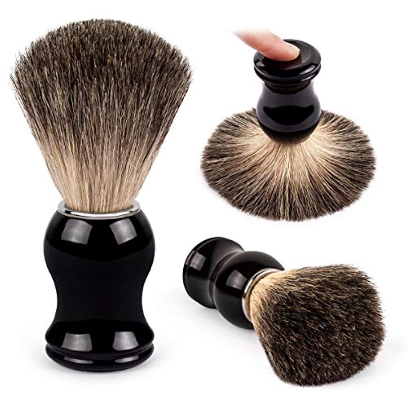 混雑プレートはさみQSHAVE 100%最高級アナグマ毛オリジナルハンドメイドシェービングブラシ。高品質樹脂ハンドル。ウェットシェービング、安全カミソリ、両刃カミソリに最適