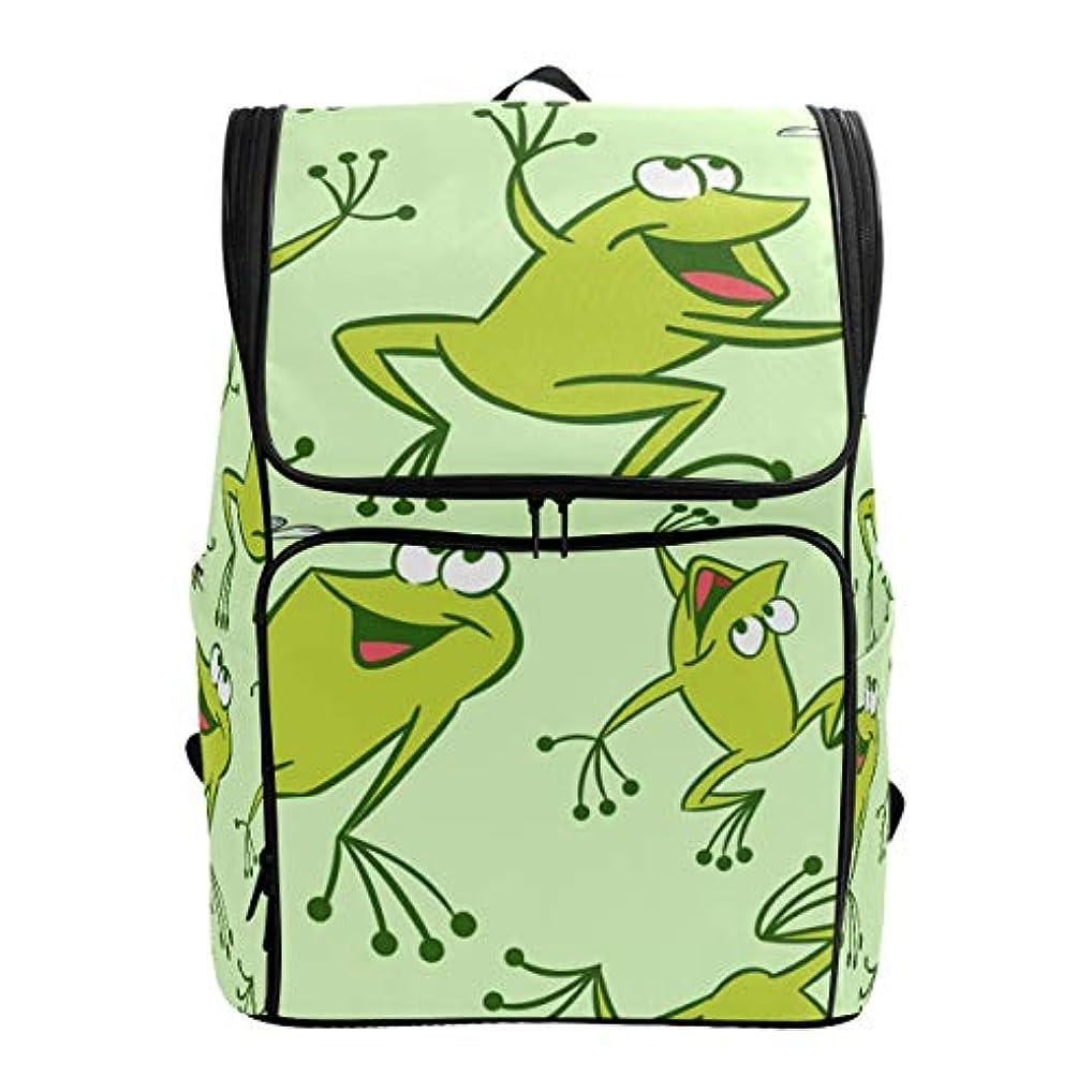 プレゼンター幅合わせてマキク(MAKIKU) リュック 大容量 リュックサック かわいい カエル 緑 レディーズ メンズ 登山 通学 通勤 旅行 プレゼント対応