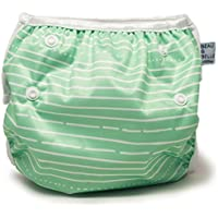 Beau & Belle Littles Nageuret Ultra Premium Reusable Swim Nappy, Adjustable & Stylish Fits Nappy Sizes N-5 for Eco-Friendly Baby Shower Gifts & Swimming Lessons (Green Stripes)