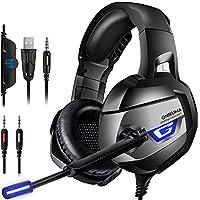 【ゲーミングヘッドセット】ONIKUMA ゲーミングヘッドホン PS4ヘッドセット PCヘッドフォン ゲーム用 PS4 Xbox One ノートパソコン マイク ノイズキャンセル FPSゲーム最適(グレー)