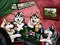ホームのAlaskan Malamute 4Dogs Playing Poker Art Portrait Print Woven Throw Sherpa Plushフリース毛布 50x60 Sherpa