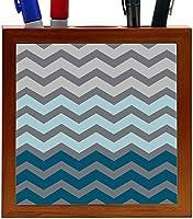 Rikki Knight Chunky Chevron Deep Grey Blue Chevron Design 5-Inch Tile Wooden Tile Pen Holder (RK-PH44715) [並行輸入品]
